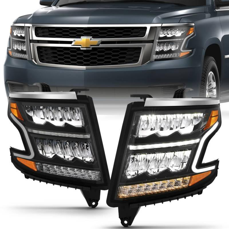 Anzo 2015-2020 Chevrolet Tahoe Suburban LED Headlight Plank Style Black Clear With Sequential Amber 111478
