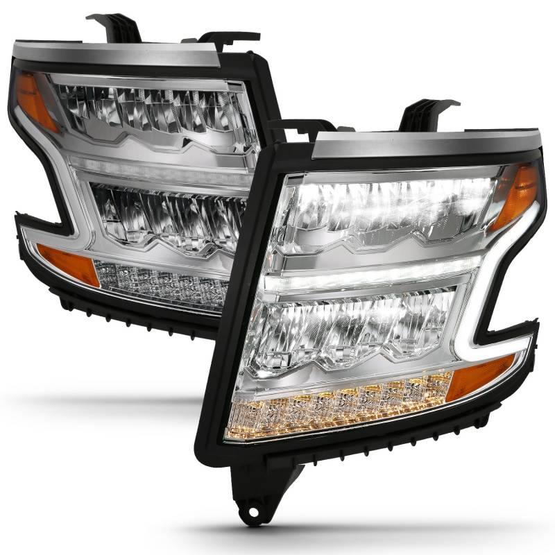 Anzo 2015-2020 Chevrolet Tahoe Suburban LED Headlight Plank Style Chrome Clear With Sequential Amber 111479
