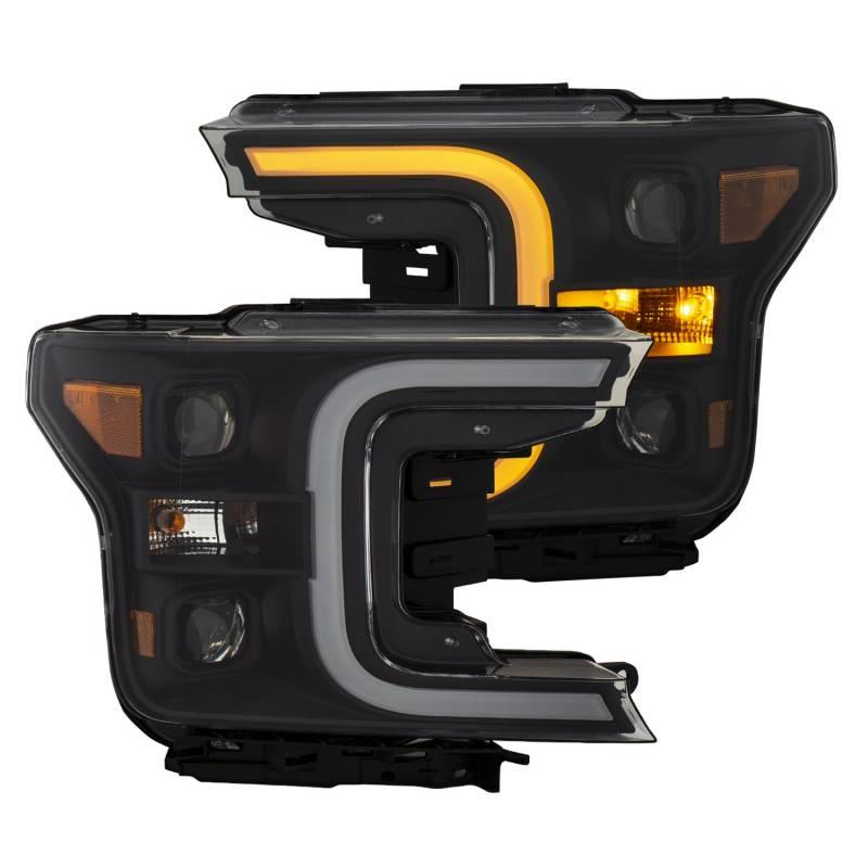 Anzo 2018-2019 Ford F150 LED Projector Headlights Plank Style Switchback Black With Amber 111400
