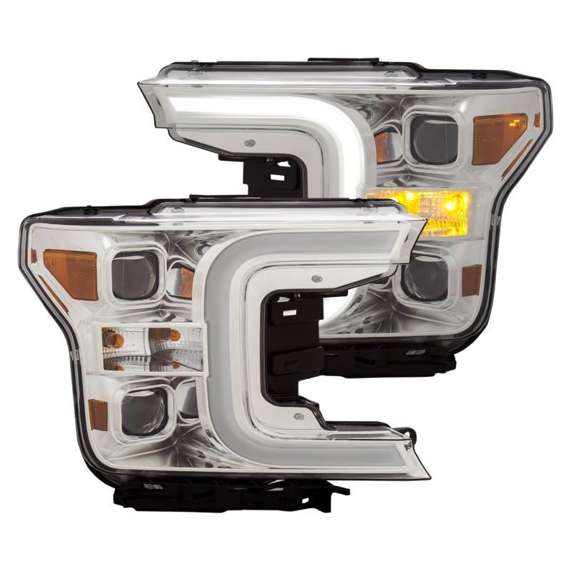 Anzo 2018-2019 Ford F150 LED Projector Headlights Plank Style Switchback Chrome With Amber 111401