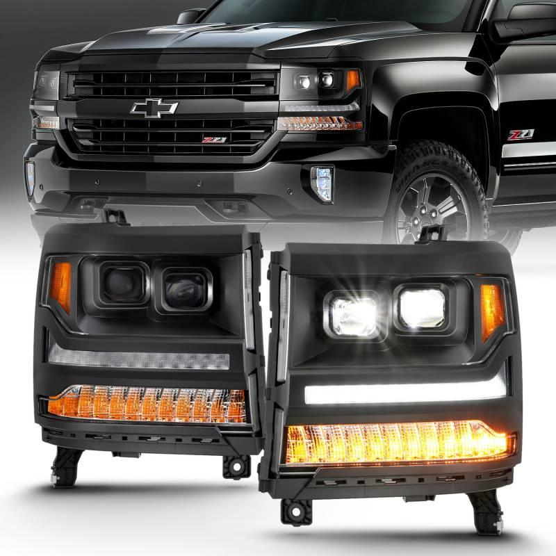 Anzo 2016-2018 Chevrolet Silverado 1500 LED Projector Headlights Plank Style Black With Amber 111420