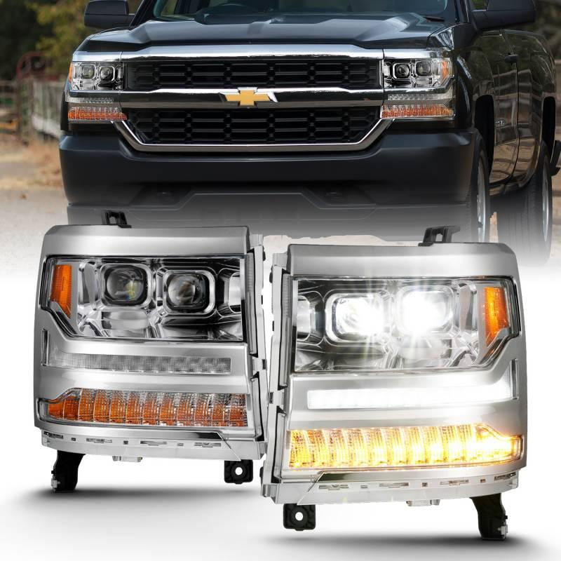 Anzo 2016-2018 Chevrolet Silverado 1500 LED Projector Headlights Plank Style Chrome With Amber 111421