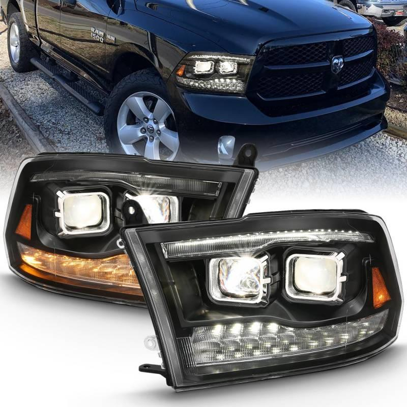 Anzo 2009-2018 Dodge Ram 1500 2010-2018 Ram 2500 3500 LED Projector Plank Style Switchback Headlight Halo Black Amber OE Style 111464