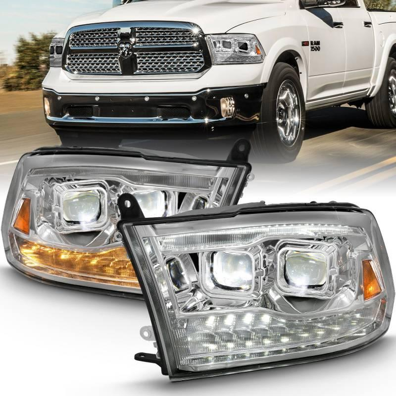 Anzo 2009-2019 Dodge Ram 1500 2010-2019 Ram 2500 3500 LED Projector Plank Style Switchback Headlight Halo Chrome Amber OE Style 111465