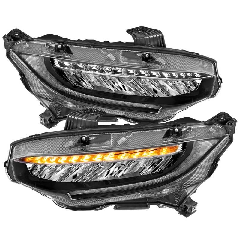 Anzo 2016-2017 Honda Civic 4dr LED Projector Headlights Plank Style Design Black With Sequential Amber Signal 121527
