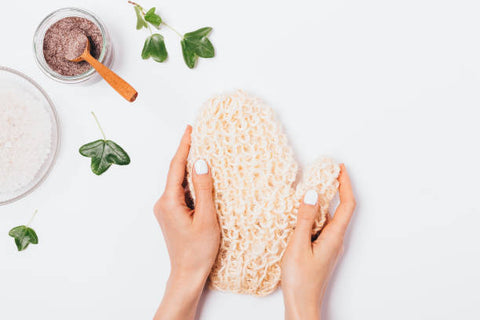 Exfoliating gloves and scrub for the hands