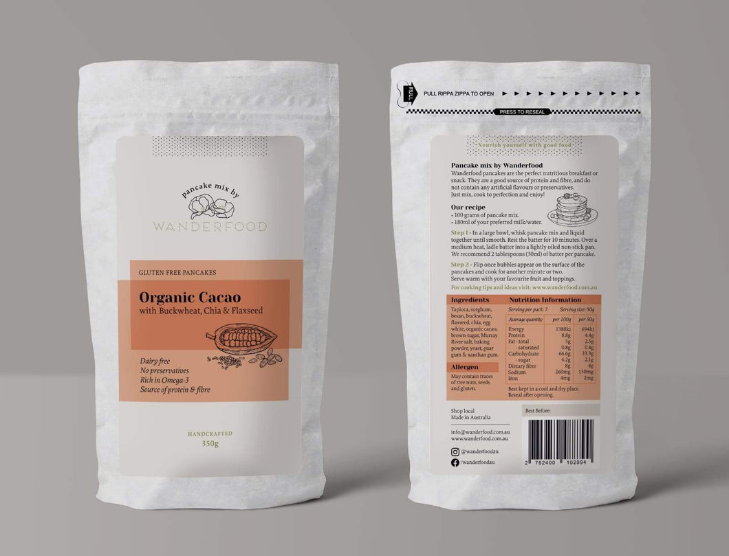 gluten free wanderfood catering organic cacao pancake mix with buckwheat chia and flaxseed in a zipped bag packaging