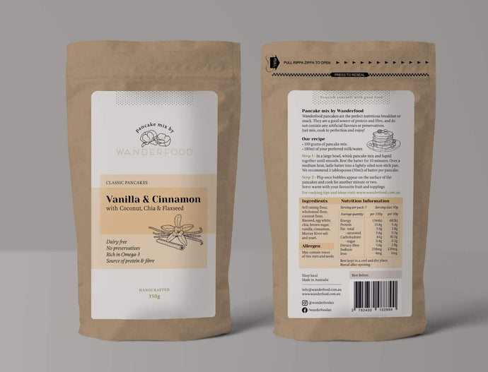 vanilla and cinnamon wanderfood catering pancake mix made with coconut chia and flaxseed