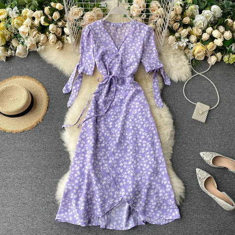 Print Floral Dress Women V Neck Chiffon Bohemian Dresses Beach Wrap Midi Long Dress