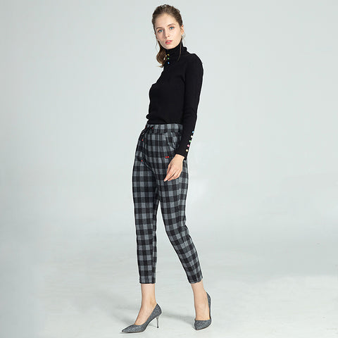 Oxford Casual Pinstripe Peg Pants High Waist Elastic Trousers