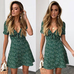 Short Sleeve Wrap Boho Floral Mini Dress Ladies Sundress