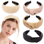 Top Knotted Handmade Straw Weave Headband For Women Girls Hair Bands Turban Hair Hoop Bezel Female Hair Accessories