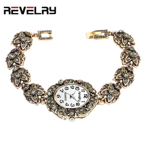 Gold Bracelet Luxury Watches Grey Rhinestone Ladies Quartz