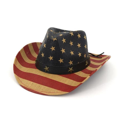 HOAREE Straw Cowboy Hat Women American Flag Retro Western Cowboy Hat FemaleSummer Beach Vintage Wide Brim Sun Hat