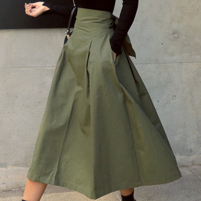 Korean Fashion Solid Color Big Swing Ladies Skirt Long Skirt Wild High Waist Bow Slim Skirts