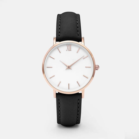 Simple Plain Style Solid Color Casual Leather Quartz Watch Female Clock