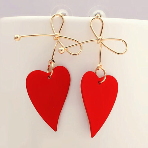 Fashion Gold Color Heart Geometric Drop Earring for Women Brincos Vintage Red Green Yellow Earring 2019 Irregular Korean Jewelry