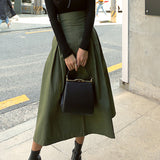 shintimes Skirts Womens Korean Fashion Solid Color Big Swing Ladies Skirt Long Skirt 2019 Autumn Wild High Waist Bow Slim Skirts