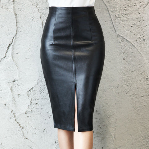 Black PU Leather Skirt High Waist Bodycon Split Skirt Office Pencil Skirt Knee Length