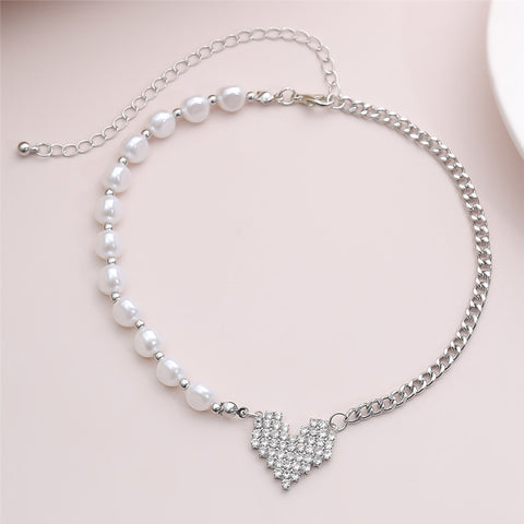 Pearl Crystal Lover Heart Pendant Necklace