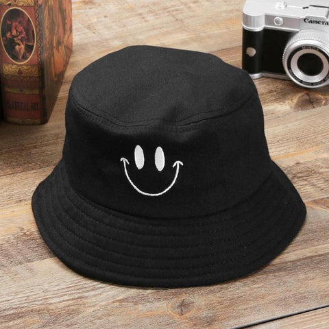 Casual Fisherman Embroidery Smiley Face Fisherman Hat For Women Men Fashion Simple Outdoor Friends Visor Sun Basin Hats #W