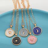 Fashion Europen Alloy Oil Drop Women Long Simple Stars Moon Heart Round Double Layer Golden Pendant Necklace Jewelry For Girls