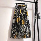 Women's Skirts Spring Korean Style Midi Knee Length Elegant Button High Waist Skirt Female Pleated School Long Skirt