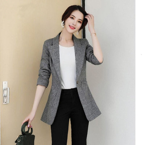 PEONFLY Vintage Office Lady Notched Collar Plaid Women Blazer Single Button Autumn Jacket 2020 Casual Pockets Female Suits Coat