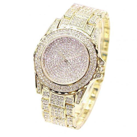 Luxury  Round Shiny Gold Sliver Quartz Wrist Watches