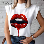 Women Elegant Lips Print blouse shirts 2020 Summer Casual Stand Neck Pullovers tops Ladies Fashion cute Eye Short Sleeve Blusa