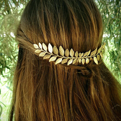 Greek Bridal Wedding Hair Accessories Headdress Gold Silver Olive Leaf Headband Hair Comb Clip Hairpin Women Jewelry Headpiece
