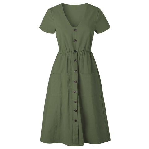 Cotton Linen Casual V-neck Button Pocket Short Sleeve A-line Dresses