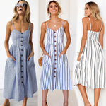 Boho Floral Dress Summer Vintage Casual Sundress Female Beach Dress Midi Button Backless Polka Dot Striped Women Dress2020