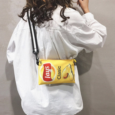 Funny Potato Chips Crossbody Handbag Women Canvas Shoulder Bag Mini Cartoon Printing Girl Envelope Bags Female Clutch Cute Purse
