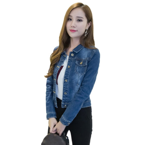 Korean clothes Women Denim jacket Short Jeans Jacket  Turn Down Collar Button Denim Outwear For women's denim jacket