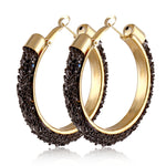 Big Circle Round Hoop Golden Punk Charm Earrings