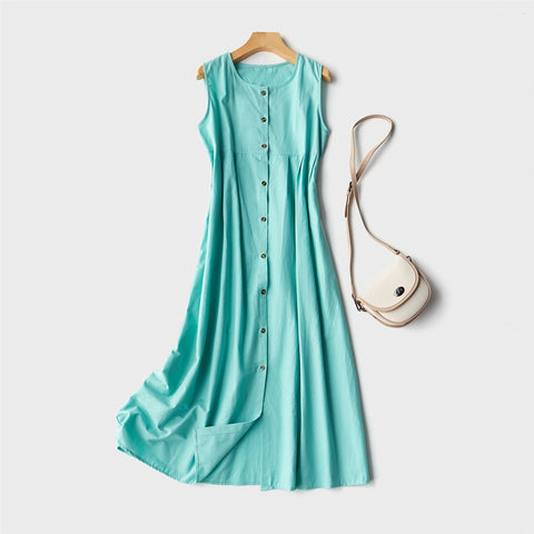 Loose Casual Solid Sleeveless O-Neck Female Dresses Cotton And Linen Ankle-Length Women Dresses