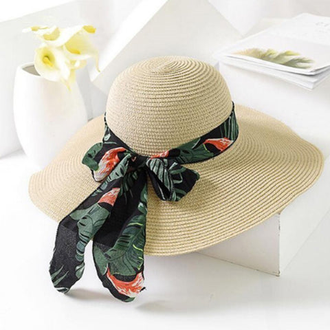 2019 New Summer Female Sun Hat Bow Ribbon Panama Beach Hats For Women Chapeu Feminino Sombrero Floppy Straw Hat