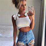 2020 New Summer Autumn Tube Crop top Women Bow Tie Strap Ruched tank Top Lettuce Edge Elastic Camis 5 colors