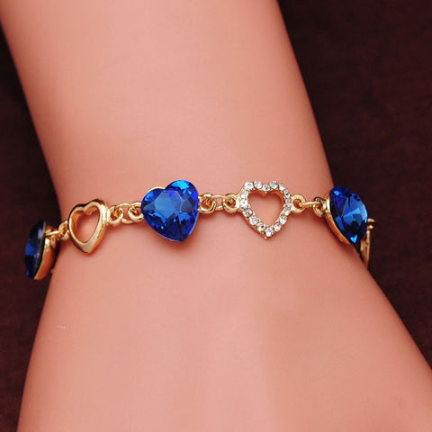 Romantic Heart Bracelets Gold Color Crystal Charm Bracelets