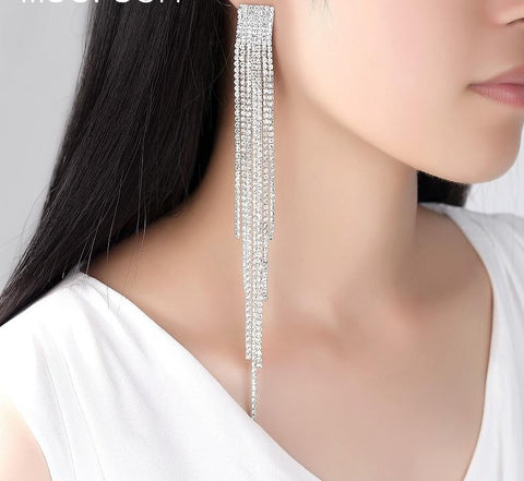 Mecresh Long Tassel Drop Earrings for Women Crystal Rhinestone Big Hanging Dangle Earrings Bride Wedding Jewelry MEH1003
