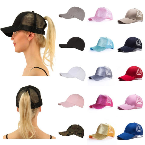 2020 Hot Sale Glitter Ponytail Baseball Cap  Adjustable Snapback Cap Dad Hats for Women Caps Messy Bun Sports Hip hop Mesh  Hat