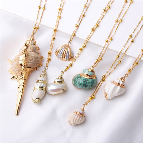 Boho Conch Shell Necklace Sea Beach Shell Chain Pendant Necklace For Women Collier Femme Shell Cowrie Summer Jewelry Bohemian