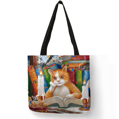 Oil Painting Cat Print Women Tote Bags Linen Reusable Shopping Bag Shoulder Bags for Women 2019 	 sac a main ladies handbags