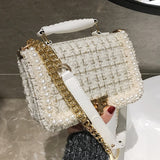 2020 Fashion New Female Square Tote bag Quality Woolen Pearl Women's Designer Handbag Ladies Chain Shoulder Crossbody Bag Travel