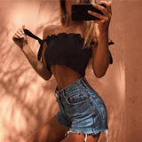Tube Crop top Women Bow Tie Strap Ruched tank Top Lettuce Edge Elastic