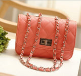 Fashion new handbags High quality PU leather Women bag Small incense wind chain Lozenge Shoulder bag Lock Stereotypes lattice