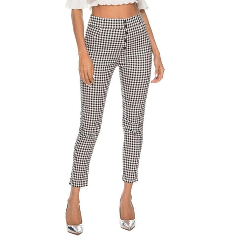 Vintage Button High Waist Pants  Office Lady Elegant Pencil Pants