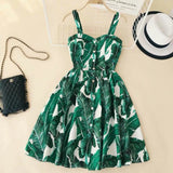 Spaghetti Strap Print Floral Sleeveless Empire Beach Dresses High Street Style