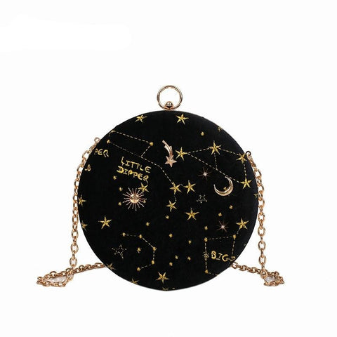 Starry sky Circular Fashion Suede Shoulder Bag Chain belt Crossbody Messenger Bags